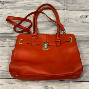 Calvin Klein  Reddish/Orange Pebbled Leather Bag